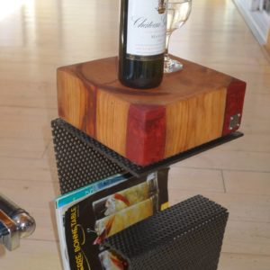 Northern Cube Quarter Hole – Cherry Resin Side table